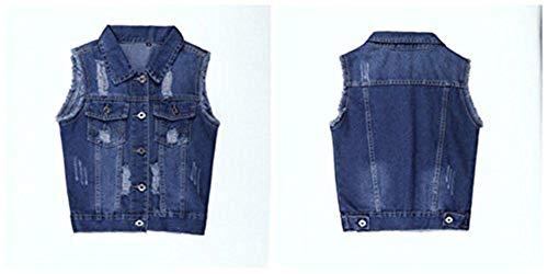 Denim Cappotto Fashion Corto Primaverile Donna Bavero Glamorous Jacket Jeans Semplice Smanicato Eleganti Dunkelblau Vintage Slim Gilet Autunno Outwear Fit Casuale CqfY0B