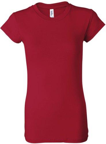 bella Ladies Kimberley Sheer Rib Short Sleeve Longer Length T-Shirt, Red, L