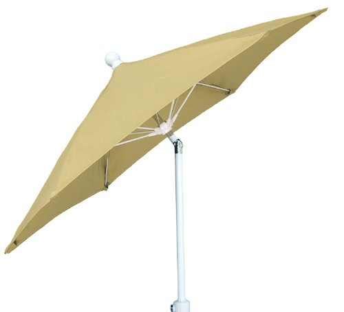 Market Fiberbuilt Umbrella (FiberBuilt Umbrellas Terrace Umbrella with Push-Button Tilt, 7.5 Foot Beige Canopy and White Pole)