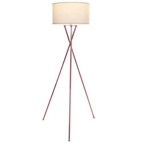 Brightech Jaxon Tripod LED Floor Lamp – Mid Century Modern Living Room Standing Light – Tall Contemporary Drum Shade Uplight and Downlight for Bedroom or Office – Rose Gold