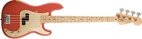 Fender Road Worn'50s Precision Electric Bass Guitar, Maple Fretboard, Gold Anodized Aluminum Pickguard - Fiesta Red