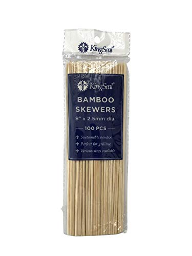 - KingSeal Natural Bamboo Wood Skewers - 8 Inches, 16 Packs of 100 Each (1600 Total)
