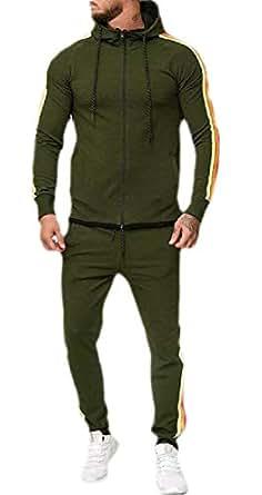 Mens Hoodie Jacket Sweatpants 2 Pieces Sports Running Tracksuit ArmyGreen 2XL