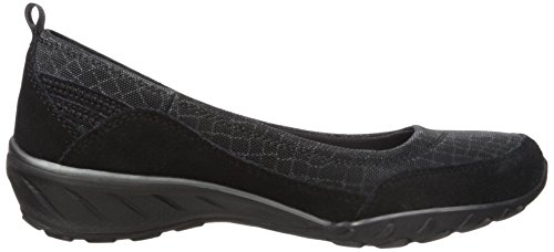 Skechers Sport Womens Savvy Dress Up Wedge Pump Maglia Nera / Pelle Scamosciata / Finiture In Carboncino