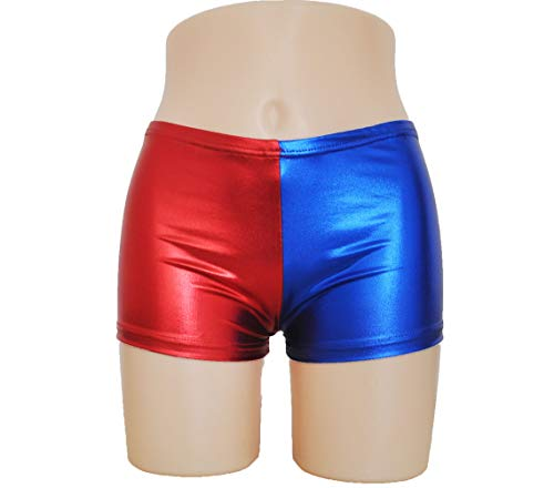 ROYASHA Womens Faux Leather Cosplay Blue Red Shorts Panties Jackety Neckalce (Shorts, L = Size 6 8 10)