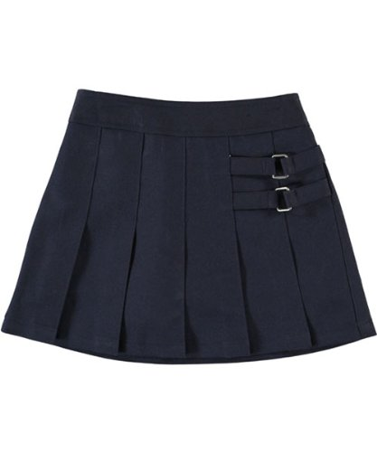 French Toast Little Girls' Pleated Scooter with Side Buckle Accent - navy, 3t