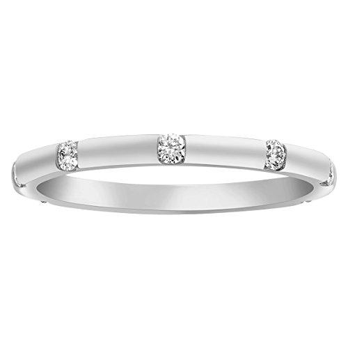 Olivia Paris 1/4 Carat ctw White Yellow or Rose Gold Gypsy Bezel Set Band Ring in 14k Gold (H-I, I1) (white-gold, 7)