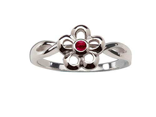 (Sterling Silver July CZ Simulated Birthstone Baby Ring with Daisy Flower)
