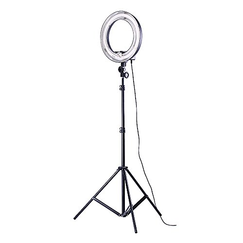 Neewe Photo Video Dimmable Ring Fluorescent Flash Light Kit Includes 14 inches 400W 5500K Photographic Ring Light, 6 feet/75 inches Photography Light Stand for Relfector Softboxe Umbrella Background