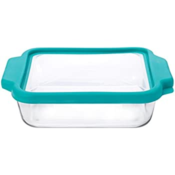 Anchor Hocking 8-InchSquare Glass Baking Dish with Teal TrueFit Lid - 91769TFT