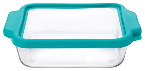 Anchor Hocking 8-InchSquare Glass Baking Dish with Teal TrueFit Lid