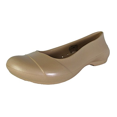 Crocs Womens Gianna Flat Patent Overlay Shoes, Gold, US 6