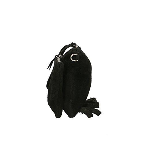 Chicca Borse Bolso de hombro de Piel genuina 24 x 17 x 4 Cm negro