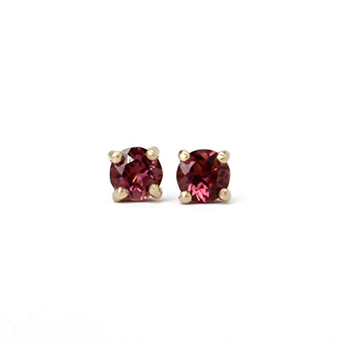 - Pink Tourmaline Studs in Solid Yellow 14k Gold- Small 4mm