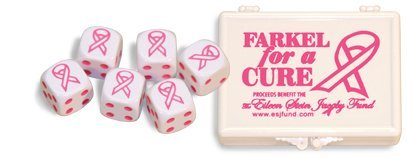 FARKEL DICE FLAT PACK BREAST CANCER AWARENESS FARKLE DICE. PROCEEDS BENEFIT THE EILEEN STEIN JACOBY FUND