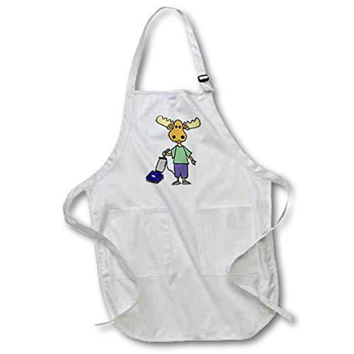 3dRose All Smiles Art - Funny - Funny Cute Moose Vacuuming Cartoon - Full Length Apron with Pockets 22w x 30l (apr_313456_1) ()