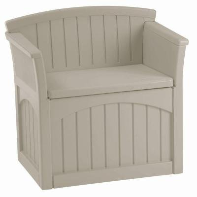 Suncast, Deck Box Patio Storage Outdoor garden bench with backrest and armrests to comfortably seat one adult or two (Lock Reel Seat)