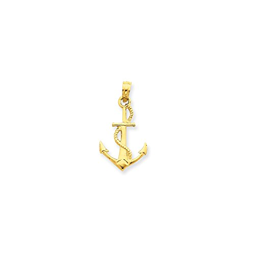 Roy Rose Jewelry 14K Yellow Gold Solid Polished 3-Dimensional Anchor - Yellow Charm Gold