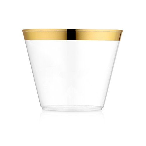 100 Pack Gold Rim Plastic Cups 9 oz § Elegant Party Cups with Gold Rim § Fancy Disposable Wedding Cups § Gold Rimmed Cups § Old Fashioned Tumblers By JK Deluxe. - Cup Trim Trophy Trim