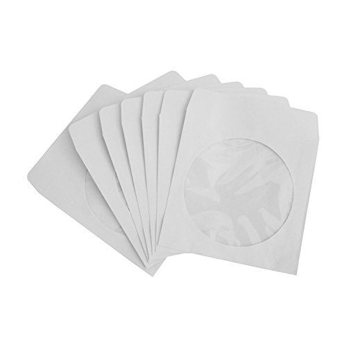 Cd Window Envelopes (Nulink™ Premium Thick White Paper CD DVD Sleeves Envelope With Window Cut Out and Flap [100 Packs, 80G White, 5 in x 5 in])