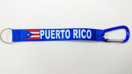 Puerto Rico Flag Reversible Short Lanyard with Carabiner. Great for car Keys, House Keys, Work Keys. (1 Lanyard)