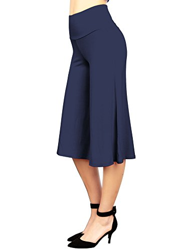 (Made By Johnny WB876 Womens Knit Culottes Pants XXXXL Navy)