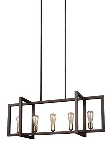 Feiss F3147/5NWB Finnegan Farmhouse Island Chandelier Lighting, Bronze, 5-Light (40