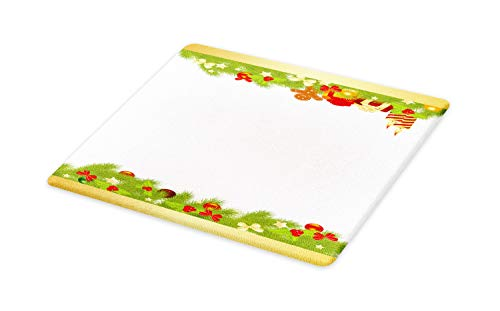 Ambesonne Christmas Cutting Board, Evergreen Tree Leaves Spruce Gingerbread Man Candles Ribbons Joyous Composition, Decorative Tempered Glass Cutting and Serving Board, Large Size, Multicolor