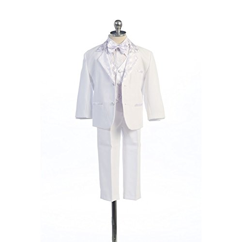 Angels Garment White 5 Piece Satin Vest Tuxedo Baptism Set Boys 18-24M - White Angel Outfit