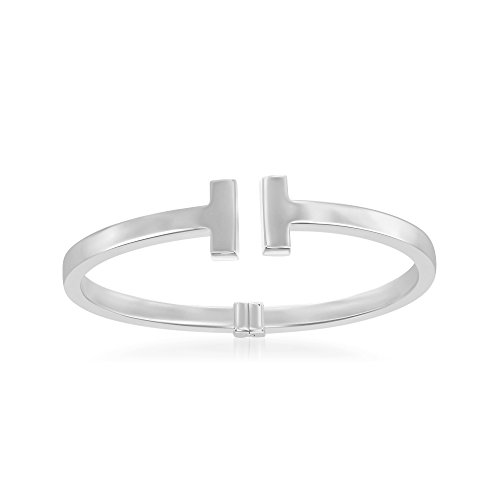 Sterling Silver High Polish Italian Double T Bar Hinged Cuff Bangle Bracelet by Beaux Bijoux