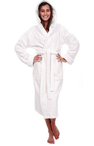 Del Rossa Women's Turkish Terry Cloth Robe, Thick Hooded Bathrobe, 1XL 2XL White (A0105WWH2X)