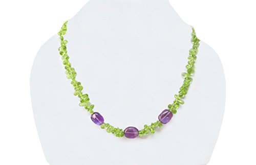 Handmade Natural Amethyst & Peridot Beads Necklace Jewelry with 925 Silver Findings 16