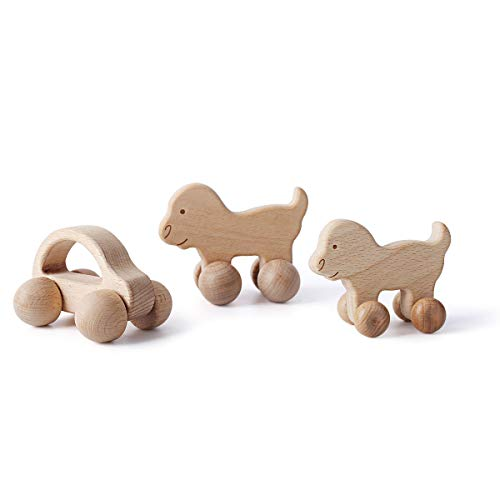 Let's Make Baby Natural Wooden Push Car Toy Set Include 1pc Car& 2pc Puppy,Toddlers Montessori Toys,Great Gift for Baby Over 10+ - Car Wooden Unfinished Toy