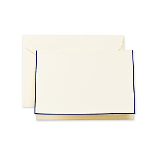 Crane & Co. Regent Blue Bordered Ecruwhite Note (CF1438), Pack of 10]()