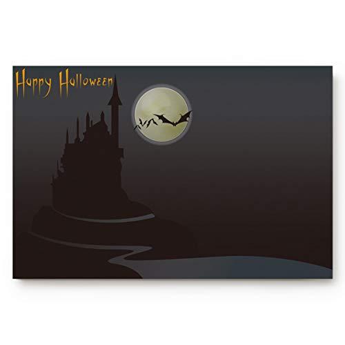 BABE MAPS Happy Halloween Gloomy Castle Welcome Doormat Entrance Floor Mat Rug Indoor/Front Door/Bathroom/Kitchen and Living Room/Bedroom Mats Rubber Non Slip 16