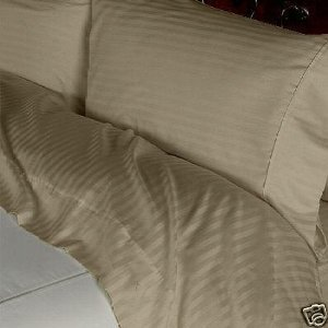 (Stripes Taupe 300 Thread Count California King Size Sheet Set, 100% Cotton Deep Pocket Bed Sheets 300TC.)