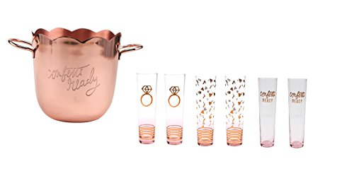 Plum & Punch Wedding Rose Gold Ice Bucket, Confetti Ready' and 6 Stemless Champagne Flute Glasswa -