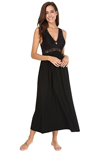 Alcea Rosea Chemise Sleepwear Nightgown Sleeveless Lace Cup Trim Knit Dress For Women (Black, S)