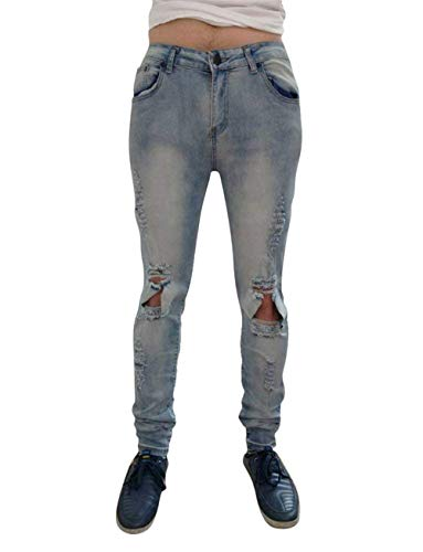 Denim Comodo Pants Biker Nne 36 Light Stretch E Ripped Nero 34 Locomotiva 5 Knee 32 Blau1 Battercake Hole Destroyed Mens 30 Moda 29 Blue Ix7XOqKw0