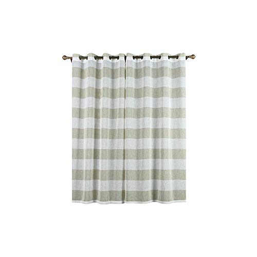 - BalsaCircle 52 x 84-Inch White and Sage Green Faux Linen Sheer Stripe Window Drapes Curtains 2 Panels - Home Party Decorations