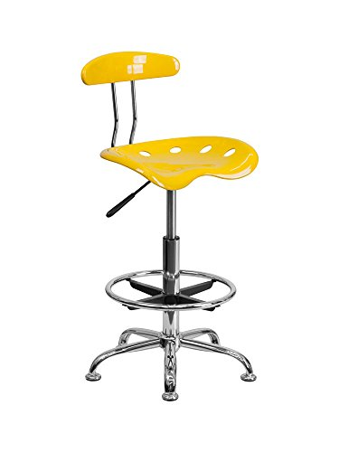 Vibrant Orange-Yellow and Chrome Drafting Stool with Tractor Seat [LF-215-YELLOW-GG] Electronics, Accessories, Computer