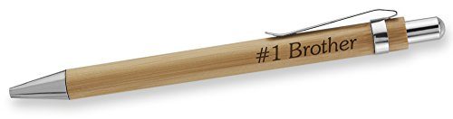 Dimension 9 Eco-Friendly Laser Engraved Personalized Bamboo Name Ballpoint Plunge-Action Pen with Chrome Accents - #1 Brother (BBPEN-#1 Brother)