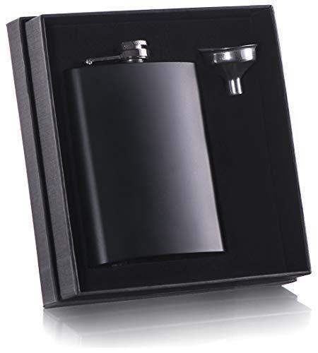 8 oz Black Flask with Stainless Steel Funnel for Liquor Whiskey for Men or Women