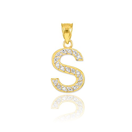 10k Yellow Gold Diamond Alphabet Initial Letter S Charm Pendant