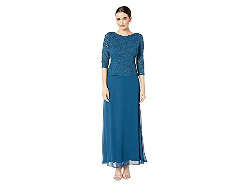 Alex Evenings Women's Long Mock Dress with Full Skirt (Petite and Regular Sizes), Peacock, 12