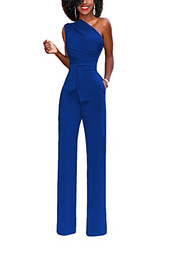 - Sherro Women's Sexy One Shoulder Jumpsuits High Waisted Wide Leg Long Romper Pants with Belt