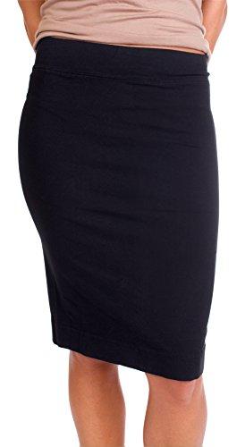 Tab Skirt Waist Pencil (Hard Tail Skinny Knee pencil skirt (Black W321) (Small))