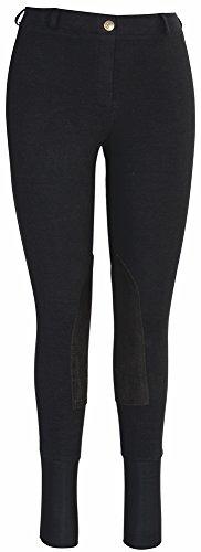 Tuffrider Starter Lowrise Pull On Breeches With Cs2 Bottom Black 28 LD (Breech Rider Knee Patch)
