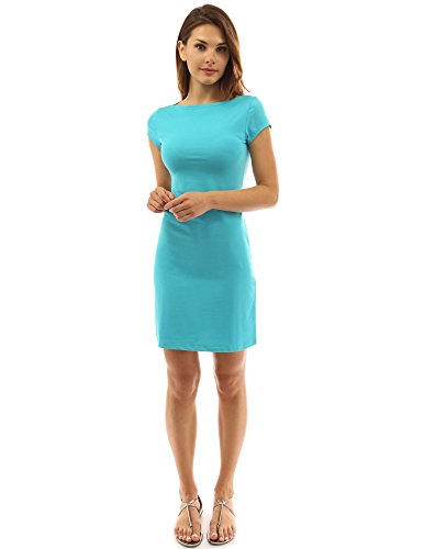 PattyBoutik Women Boat Neck Cap Sleeve Dress (Turquoise Small)