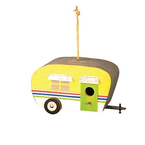 Hanna's Handiworks Yellow Happy Camper Stripe 9 x 5 Wood and Metal Birdhouse with Twine Hanger